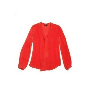 Marchesa Voyage Red Silk Pleated Blouse